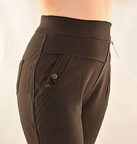 Брюки женские на меху в больших размерах 5XL - 7XL Лосины зимние с карманами в черном цвете, фото 3