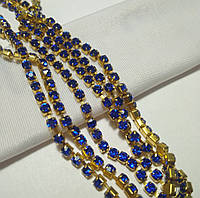 Стразовая цепь, gold, Sapphire SS12 (3 мм) 1 ряд. Цена за 0.5 м., фото 1