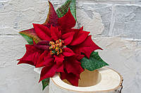 Цветок пуансетии велюр тм. красная с зеленью, фото 1