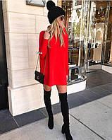 Жіноче зимове осінньо короткий тепле плаття під горло ангора біле чорне червоне пляшка 42-46