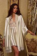 Атласный халат с пеньюаром для невесты Айвори