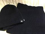 Мужской вязаный комплект шапка + хомут цвет только т. синий, фото 2