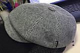 Кепка мужская  воьмиклинка светло серая в полоску 56  разм, фото 3