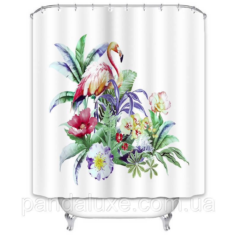 Штора занавеска для ванной Фламинго в тропиках 180 х 180 см