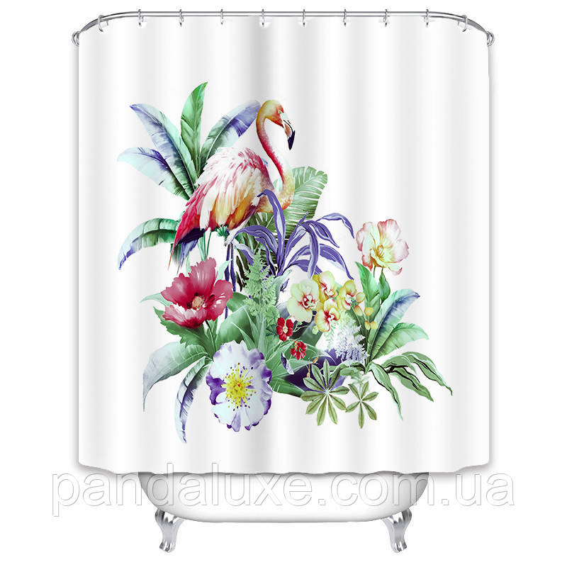 Штора занавеска для ванной Фламинго в тропиках 180 х 180 см, фото 2