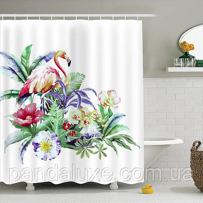 Штора занавеска для ванной Фламинго в тропиках 180 х 180 см, фото 3