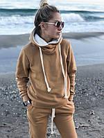 Теплый прогулочный женский костюм на флисе 42 44 46 48 50 52 54  бежевый и графит