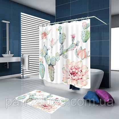 Штора занавеска для ванной Кактусы 180 х 180 см, фото 2