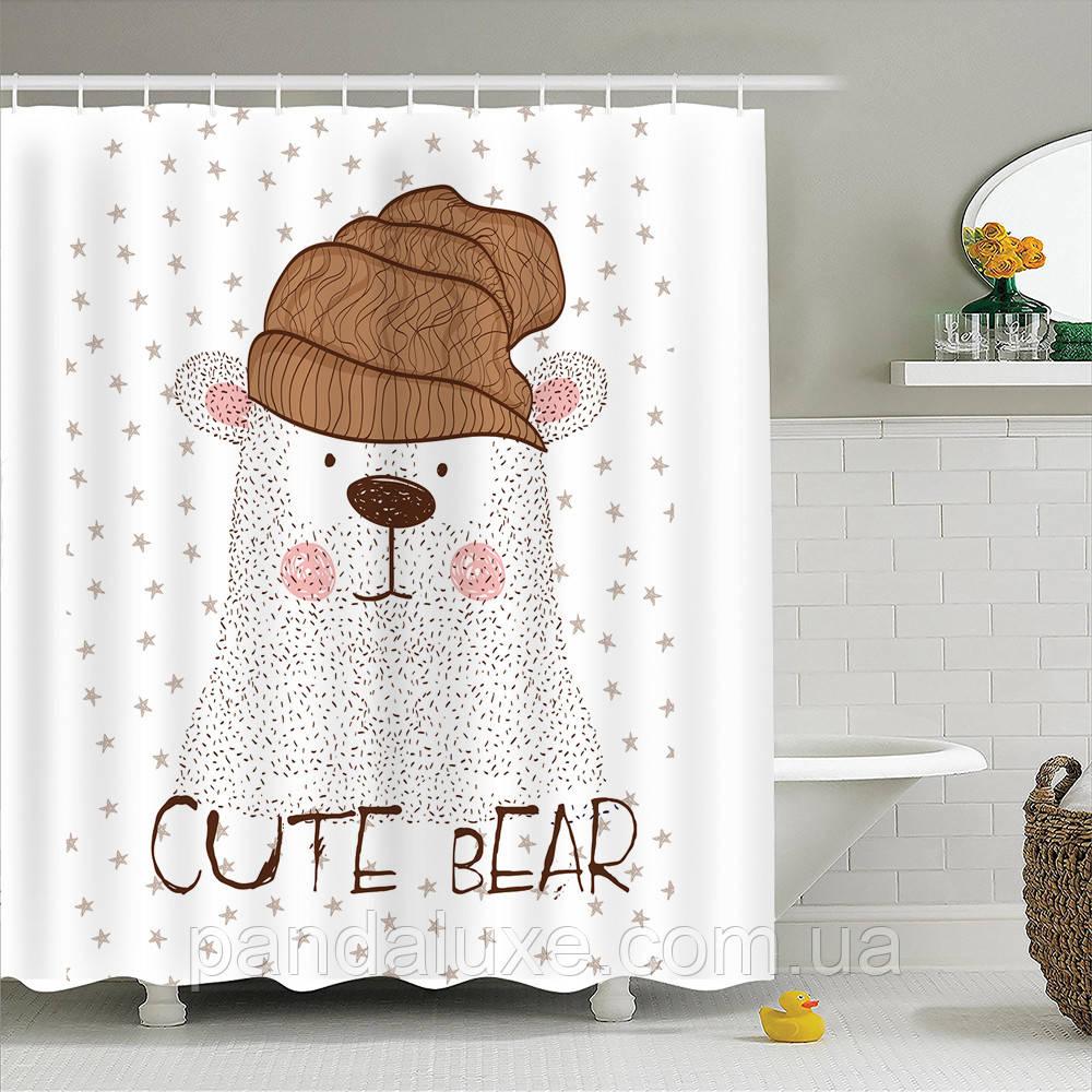 Штора занавеска для ванной Полярный медведь 180 х 180 см