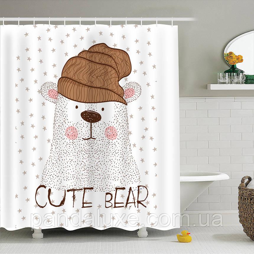 Штора занавеска для ванной Полярный медведь 180 х 180 см, фото 2