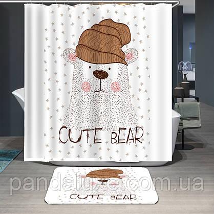 Штора занавеска для ванной Полярный медведь 180 х 180 см, фото 3