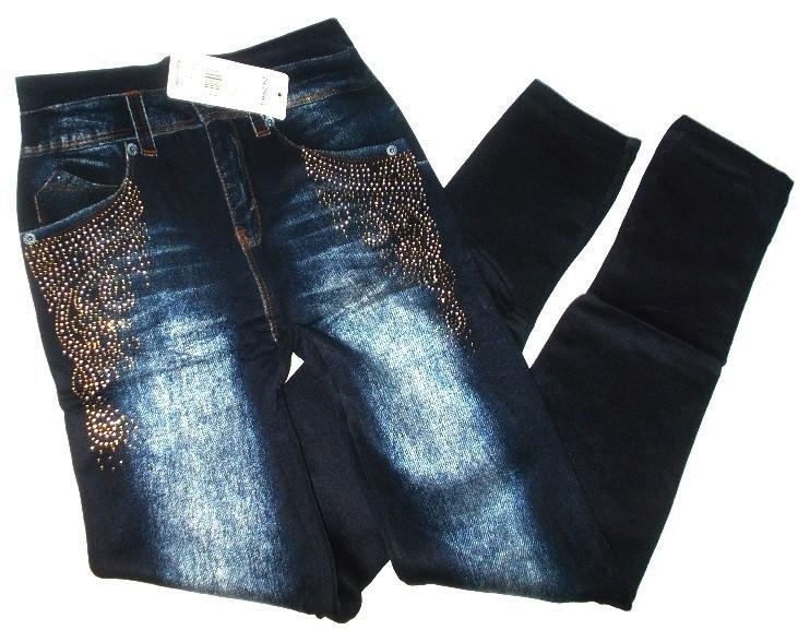 Лосины джинс на махре со стразами №185