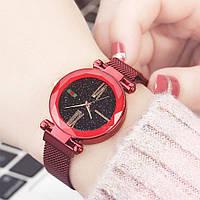 Жіночі годинники Starry Sky Watch на магнітній застібці Червоні, фото 1