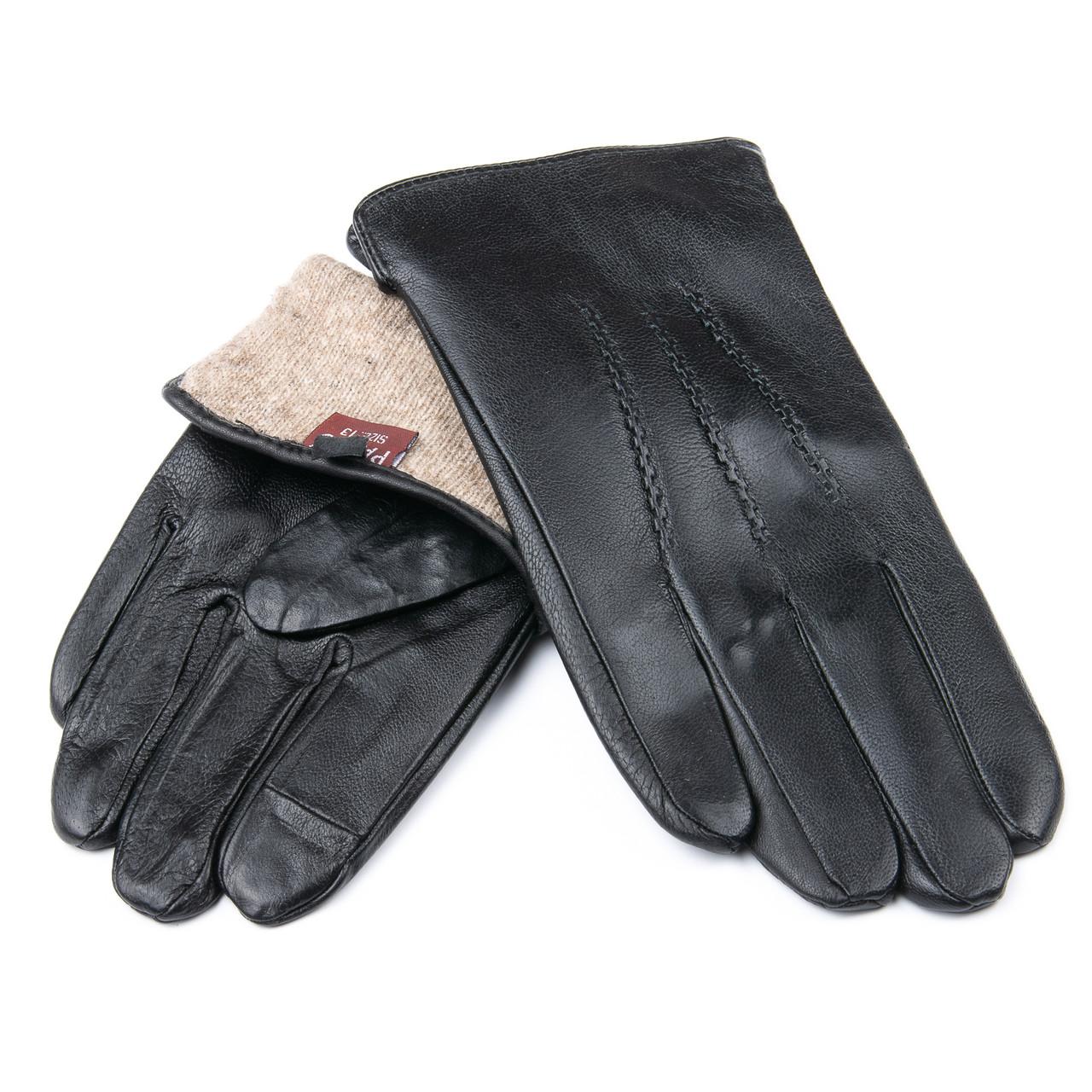 Перчатка Мужская кожа M21/19-1 мод3 black шерсть