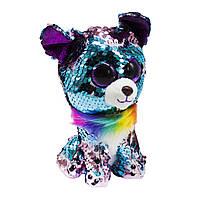 Мягкая игрушка Глазастик с пайетками: собачка, 18 см