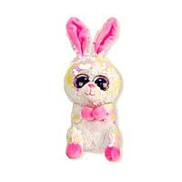 Мягкая игрушка Глазастик с пайетками: кролик, 18 см