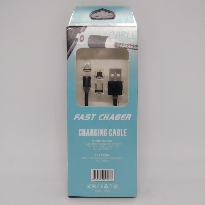 Магнитный кабель 3в1 для зарядки micro USB | Lightning | USB type C Magnetic USB Cable в оплётке ЧЁРНЫЙ