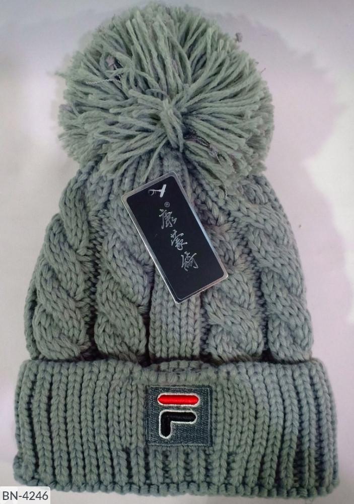 Шапка женская теплая зимняя с бомбоном на флисе в стиле Фила много цветов Новинка