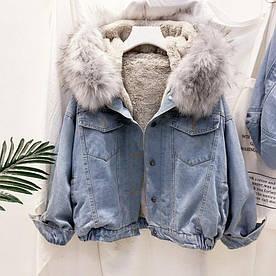 Джинсова Куртка зимова з великим хутряним капюшоном