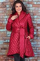 Женская удлиненная стеганная куртка на зиму