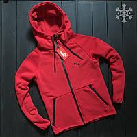 Мужское утепленное спортивное худи Puma (red), утепленное худи Пума, красное худи пума