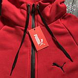 Мужское утепленное спортивное худи Puma (red), утепленное худи Пума, красное худи пума, фото 2