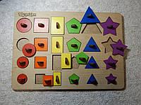 """Рамка-вкладыш """"Геометрические фигуры"""", деревянная развивающая и обучающая игрушка, деревянный сортер"""