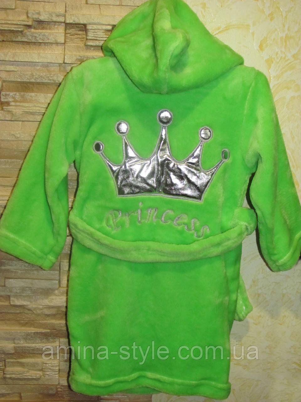 Детский махровый халат Princess подросток, размер 36(122-128см)
