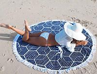 Комфортное пляжное покрывало плед с квадратиками, фото 1