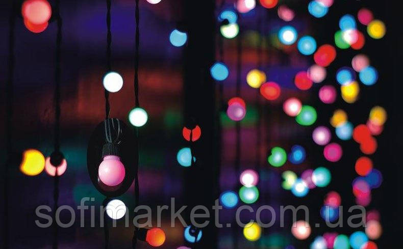 "Гирлянда ""Штора"" шарики 240 LED 2м*2м красная, мульти, т.белый, х.белый"
