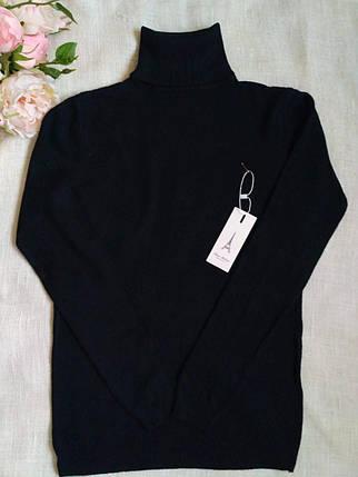 Гольф женский шерстяной черный с высоким горлом и манжетами S \ XL 40 42 44 46 48 водолазка женская черная, фото 2