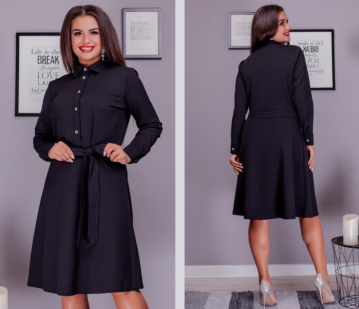 Стильное платье рубашка большого размера