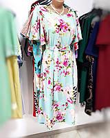 Платье летнее в цветочный принт с клешным рукавом