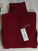 Бордовый гольф женский шерстяной с высоким горлом и манжетами S \ XL 40 42 44 46 48 водолазка женская бордо, фото 2