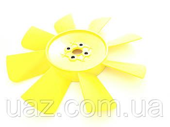 Вентилятор УАЗ (крильчатка жовта ПЛАСТИК, 8 лопатей)