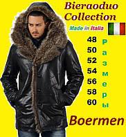 Мужская кожаная куртка с мехом енота и волка. Bieraoduo Италия. Куртка парка, аляска, кожаный пуховик.