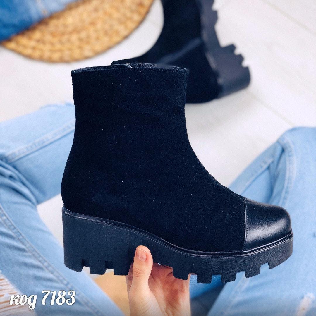 41 р. Ботинки женские деми черные замшевые на среднем каблуке, демисезонные, из натуральной замши, замша