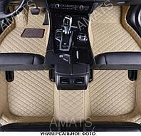 Коврики Audi Q7 из Экокожи 3D (2015+) Бежевые