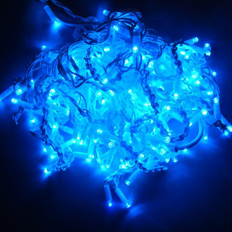 Гирлянда уличная Бахрома, 160 led, синяя, белый провод, 5,5м.