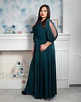Нарядное длинное женское платье бутылочное