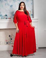 Яркое красное платье макси с поясом, фото 1