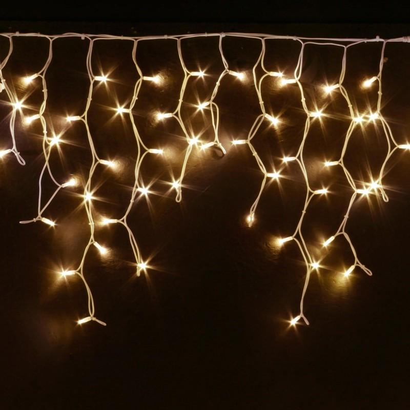 Гирлянда уличная Бахрома, 100 led, тёплый белый, белый провод, 3,3м.