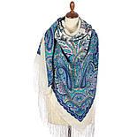 Караван 970-0, павлопосадский платок (шаль) из уплотненной шерсти с шелковой вязанной бахромой, фото 2