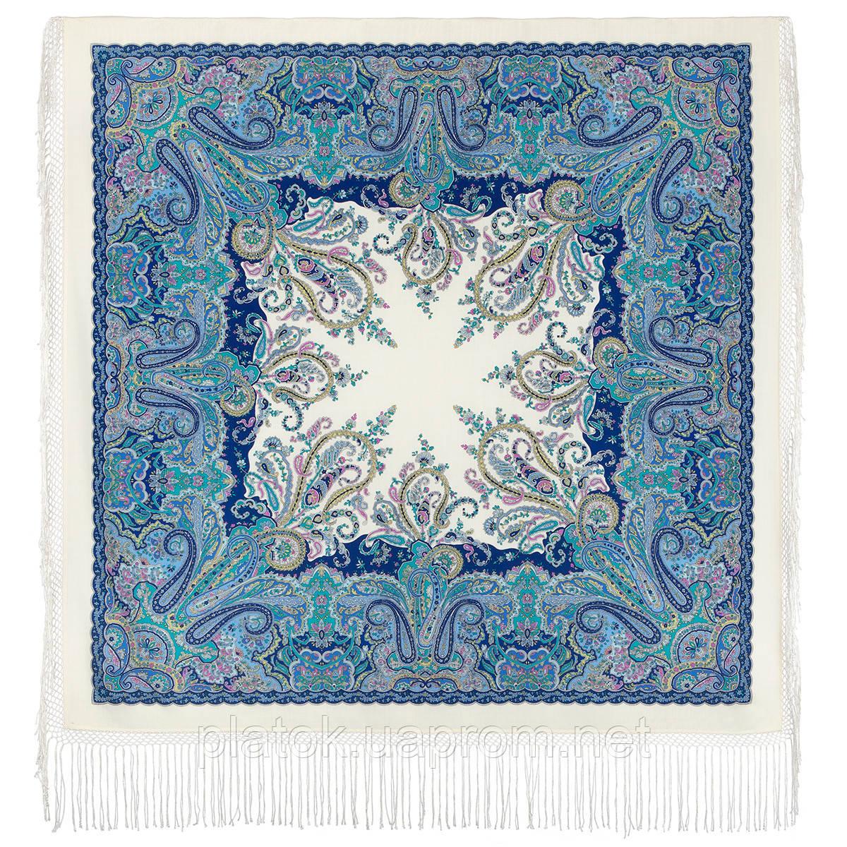 Караван 970-0, павлопосадский платок (шаль) из уплотненной шерсти с шелковой вязанной бахромой