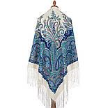 Караван 970-0, павлопосадский платок (шаль) из уплотненной шерсти с шелковой вязанной бахромой, фото 3