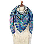 Караван 970-0, павлопосадский платок (шаль) из уплотненной шерсти с шелковой вязанной бахромой, фото 4