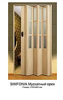 """Двери гармошка под стекло """"Vinci Decor Simfonia"""" Мускатный орех оригинал 100%"""