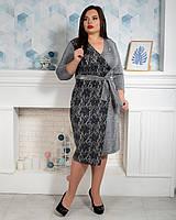 Элегантное женское платье больших размеров светло-серое, фото 1