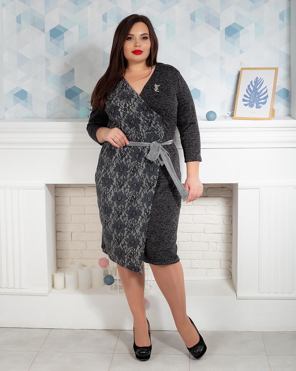Ангоровое жіноче плаття на запах темно-сіре