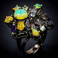 Серебряное Кольцо ручной работы с Огненными Опалами, голубыми Топазами и Аметистами